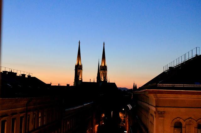 Sunset over church hungary