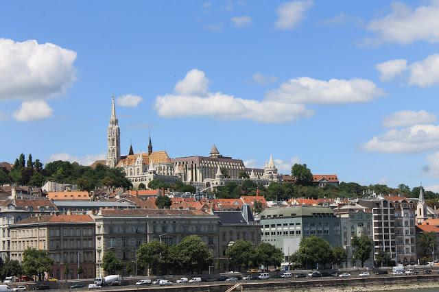 View of Matthias church and Fisherman's Bastion from Chain Bridge,  Budapest Hungary