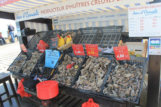 Cancale Oyster market france, where to eat